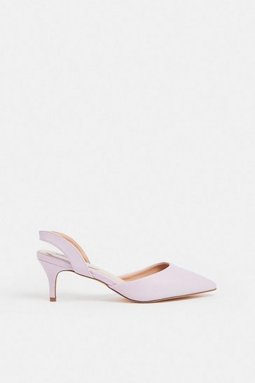 Lilac Sling Back Kitten Heel Shoe