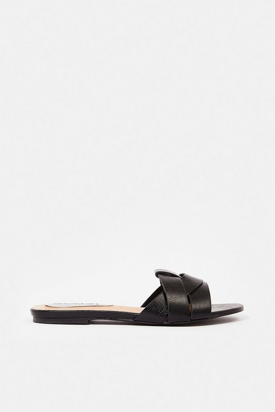 Black Interlock Flat Mule