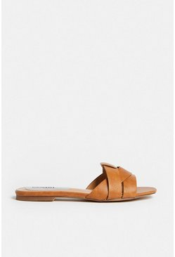 Tan Interlock Flat Mule