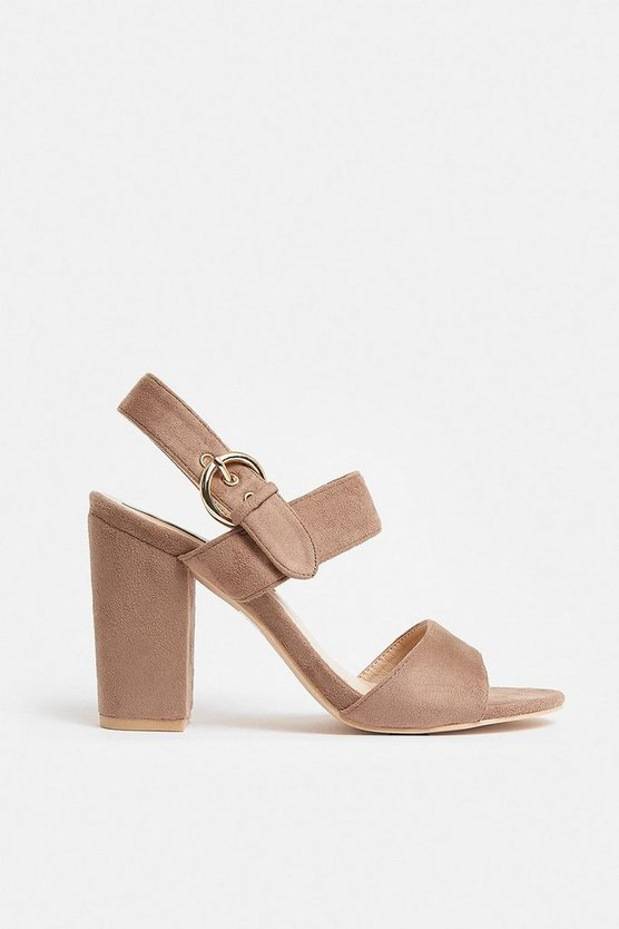 Natural Buckle Strap Block Heel Sandal