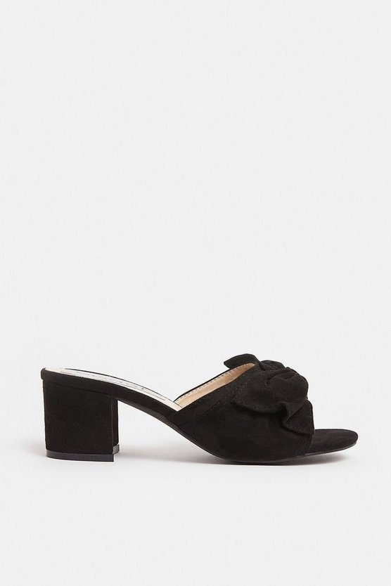 Black Bow Detail Block Heel Mule