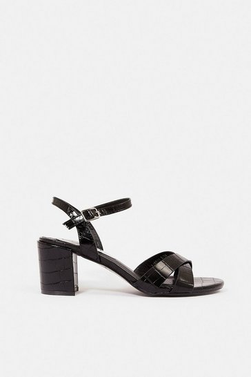 Black Mock Croc Block Heel Sandal