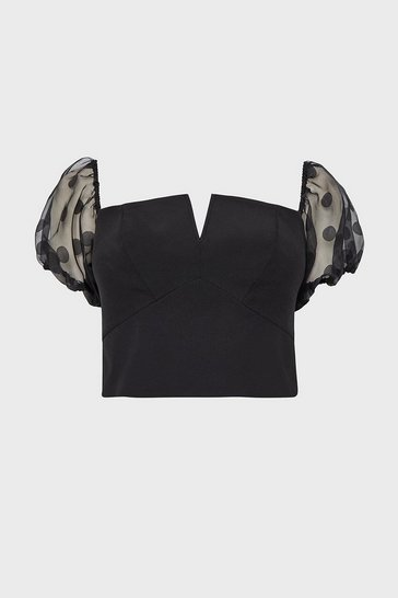 Black Organza Spot Sleeve Bardot Top