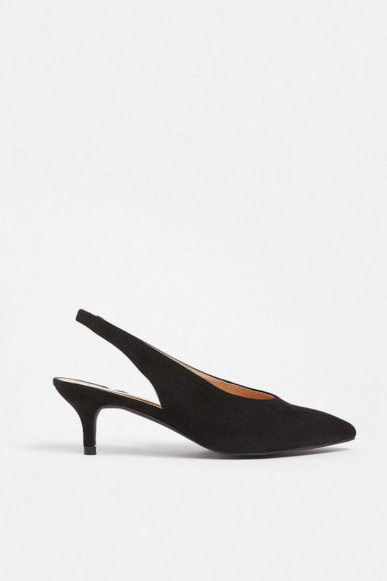 Black Pointed Sling Back Kitten Heel