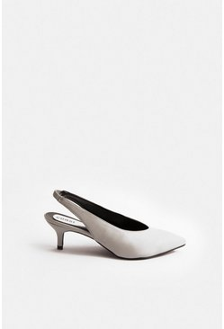 Grey Pointed Sling Back Kitten Heel