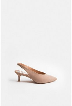 Nude Pointed Sling Back Kitten Heel