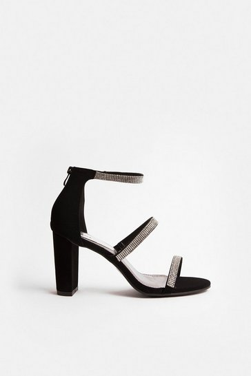 Black Triple Diamante Strap Block Heel Sandal