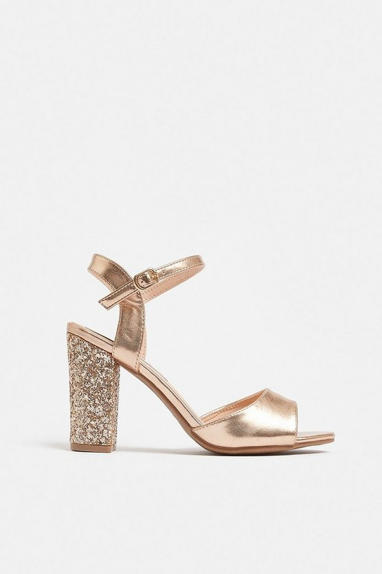 Rose gold Glitter Block Heel Sandal