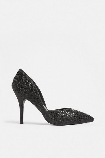 Black Glitter And Diamante Court Shoe