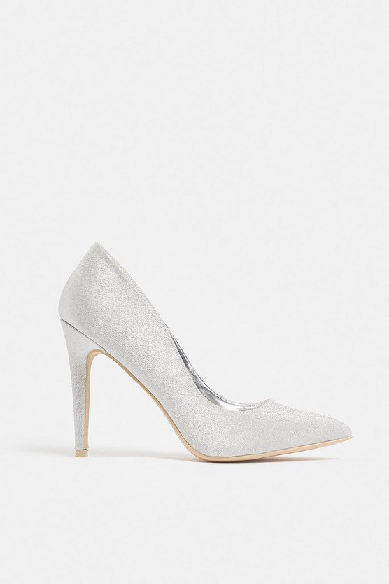 Silver High Heel Pointed Toe Court Shoe