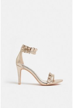 Gold Ruffle Strappy Sandal