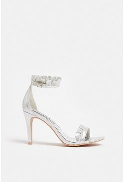 Silver Ruffle Strappy Sandal