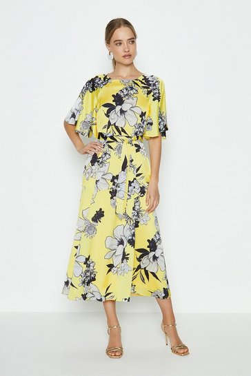 Yellow Fluted Sleeve Midi Dress