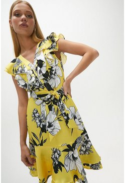 Yellow Ruffle Neck Printed Dress