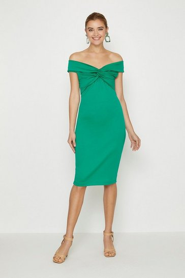 Green Twist Bardot Neckline Ponte Midi Dress