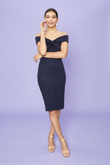 Navy Twist Bardot Neckline Ponte Midi Dress