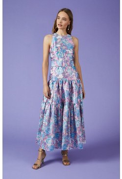 Multi Jacquard Tiered Maxi Dress
