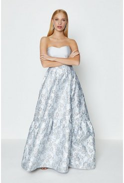 Grey Silver Jacquard Bandeau Maxi Dress