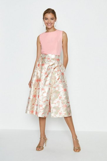 Pink Solid Bodice Jacquard Full Midi Dress