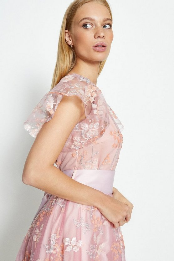 Blush Embroidered Flute Sleeve Midi Dress