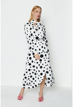 Mono Spot Wrap Tie Neck Dress