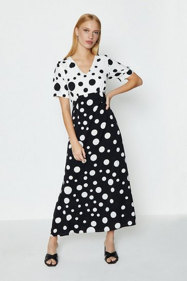 Mono Contrast Spot Puff Sleeve Midi Dress