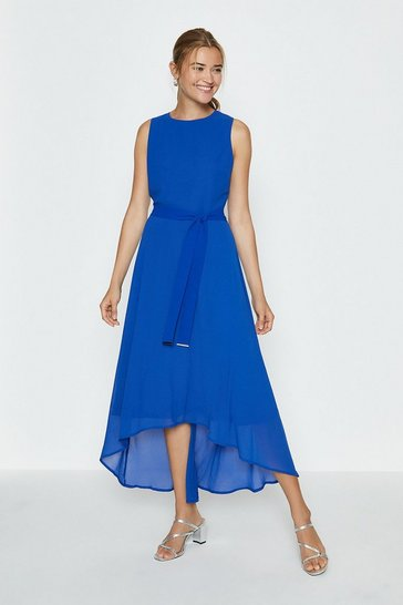 Blue Soft Belted High Low Hem Midi Dress