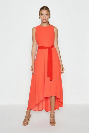 Orange Soft Belted High Low Hem Midi Dress