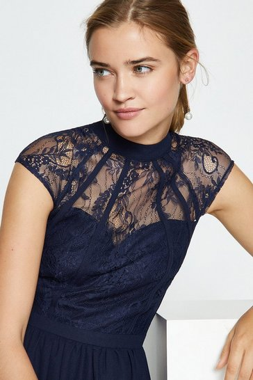 Navy Seamed Lace Bodice Maxi Dress
