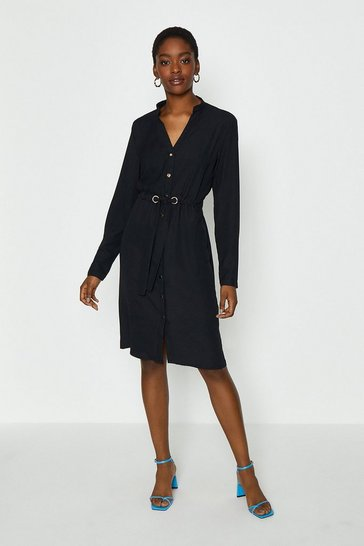 Black Popper Front Shirt Dress