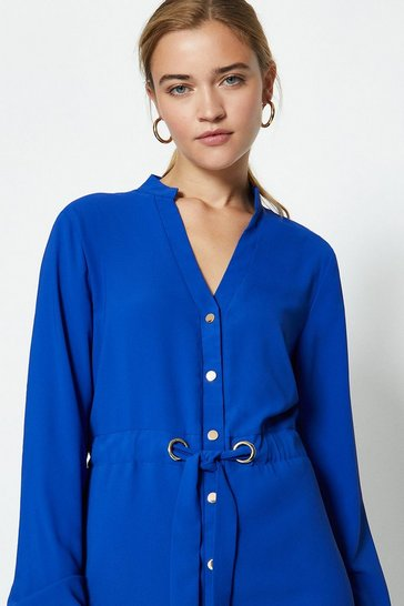 Blue Popper Front Shirt Dress