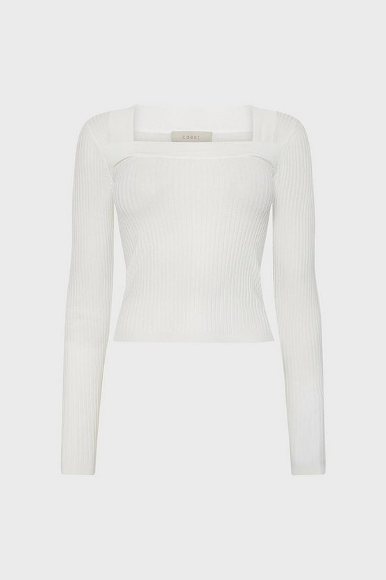 Ivory Square Neck Knitted Top