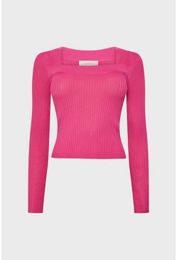 Pink Square Neck Knitted Top