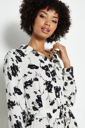 Mono Printed Pleat Shirt Dress