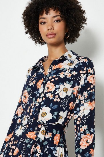 Navy Printed Pleat Shirt Dress