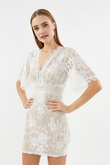 Ivory V Neck Lace Shift Dress