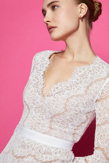 Ivory  V-Neck Lace Long Sleeve Maxi Dress