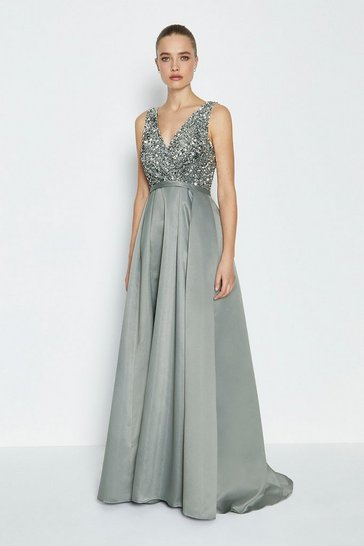 Silver Sequin Bodice Maxi Dress