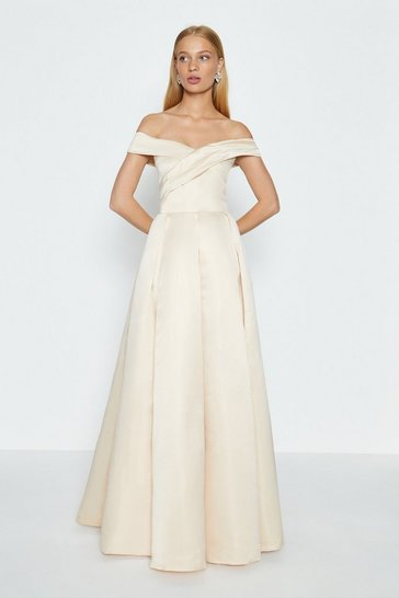 Beige Bandeau Full Skirt Maxi Dress