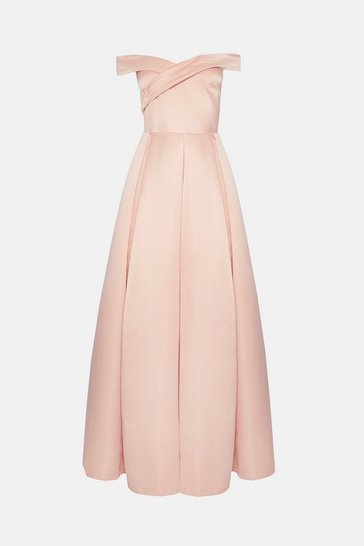 Pink Bandeau Full Skirt Maxi Dress