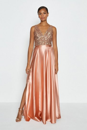 Blush Satin Maxi Skirt