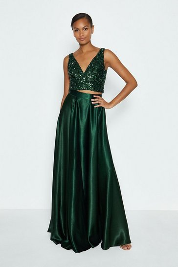 Forest Satin Maxi Skirt