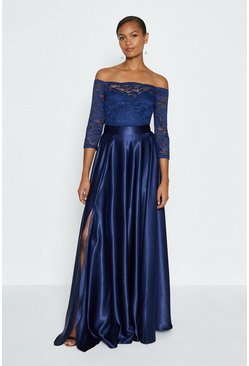 Navy Satin Maxi Skirt