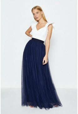 Navy Tulle Maxi Skirt