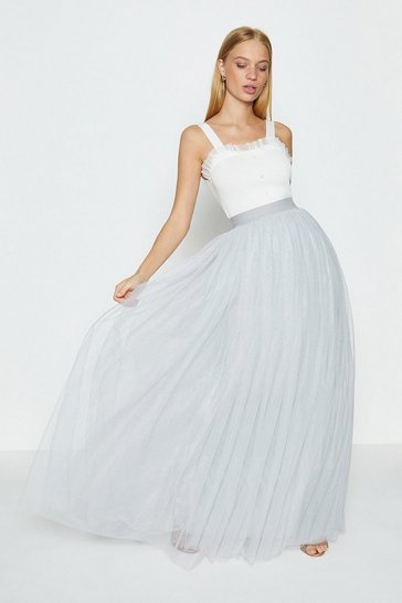Silver Tulle Maxi Skirt