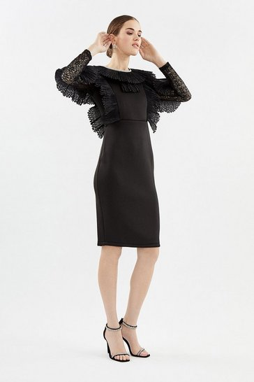 Black Pleated Ruffle Long Sleeve Dress