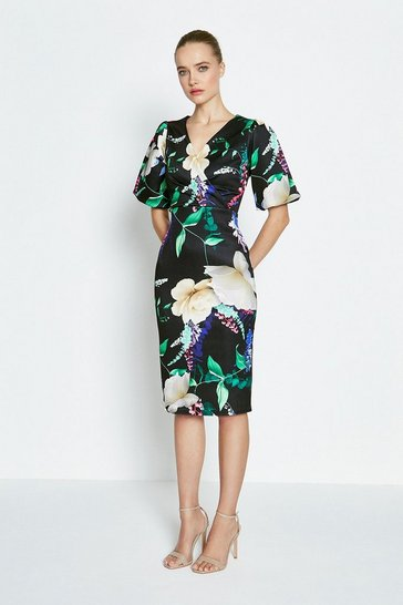 Green Printed Wrap Scuba Shift Dress