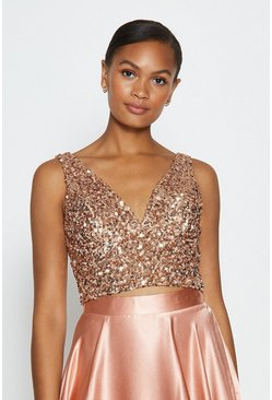 Blush Sequin V Neck Bustier Top