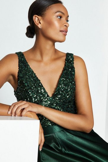 Forest Sequin V Neck Bustier Top