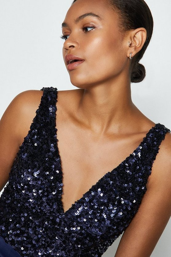 Navy Sequin V Neck Bustier Top